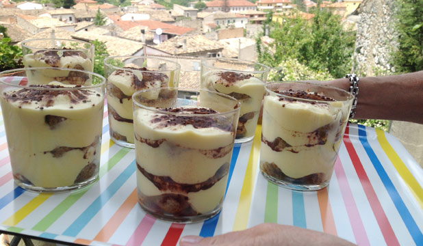 SWEET DELIGHT: Rich and delicious tiramisu, with the village of Vittorito as the backdrop.