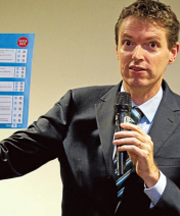 ON THE TRAIL: Conservative Party leader Colin Craig spoke to a full house at the Nelson Suburban Club last night.