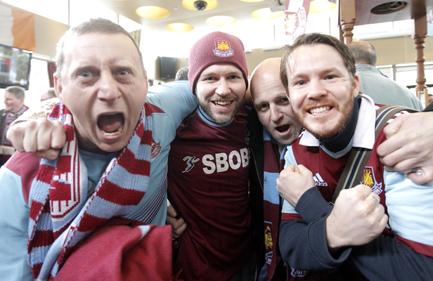 West Ham supporters at the Green Man pub before the match today. Left to right, Chris Grey, Jacob Bull, Andrew Pasavvas and Kevin Bradford.