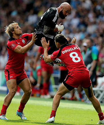 UP IN THE AIR: Kiwi captain DJ Forbes jumps highest to claim a restart against Canada.
