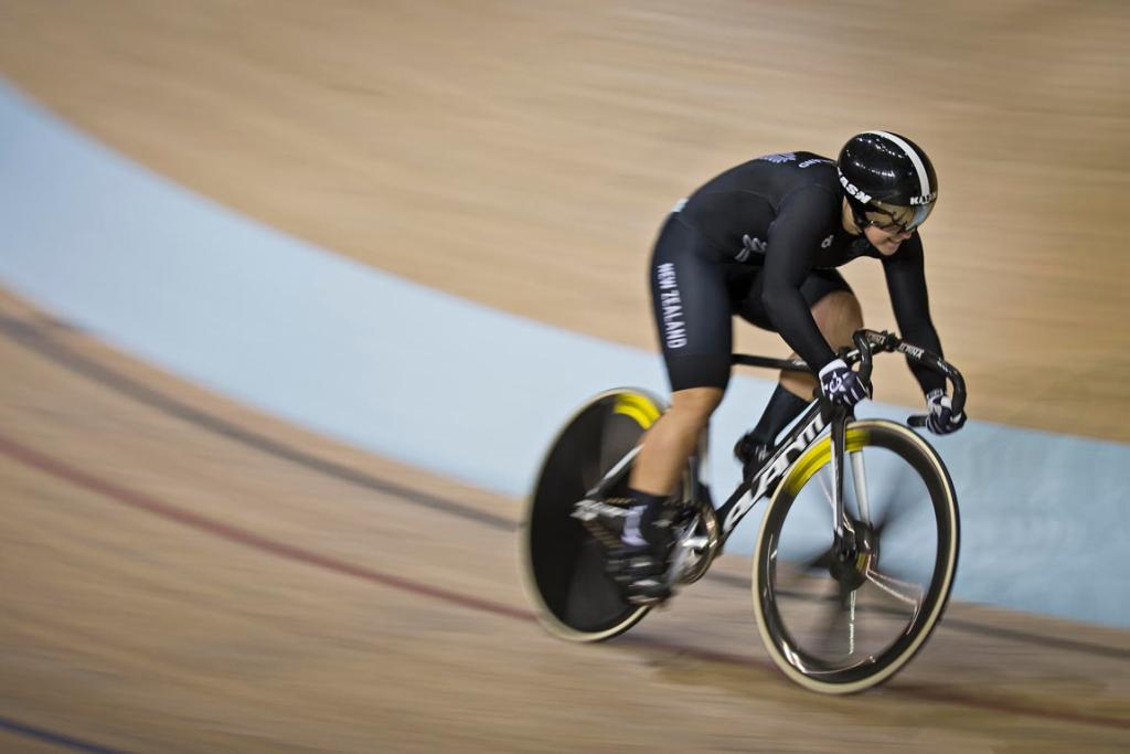 Stephanie McKenzie powers around the velodrome during the women's sprint qualifying.