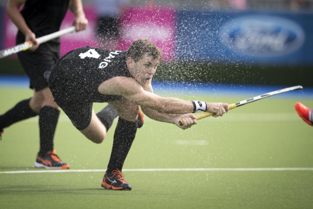 Black Sticks striker Nick Haig takes a drag-flick shot at goal.