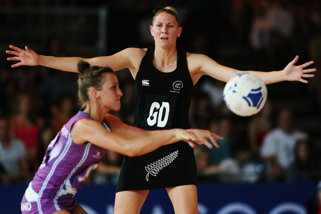 Silver Ferns defender Casey Kopua gives her Scotland opponent nowhere to pass.