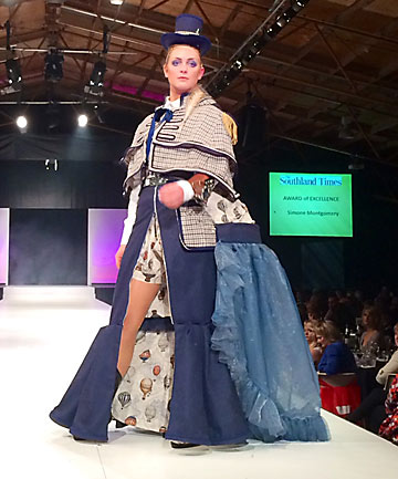 STEAMROLLER: Simone Montgomery took out the Southland Times Award of excellence with this steampunk creation at the Hokonui Fashion Design Awards.