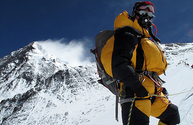 SUCCESS: Christine Burke, formerly of Timaru, climbs her way up Mt Everest.