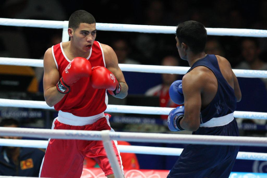 New Zealander Leroy Hindley fights Bangladesh's Mohammad Al Amin in a men's 64kg light welterweight bout.