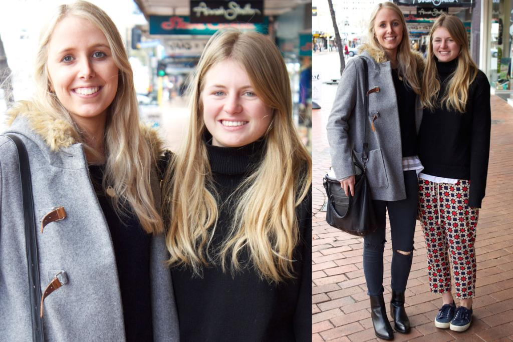 Georgia and Alexa photographed on George St, on a chilly Dunedin day. Georgia wears a Sportsgirl jacket, Topshop jeans, Tony Bianco boots and a Status Anxiety bag while Alexa rocks a Bassike jumper, Twenty Seven Names pants, Superga shoes and a Deadly Ponies bag.