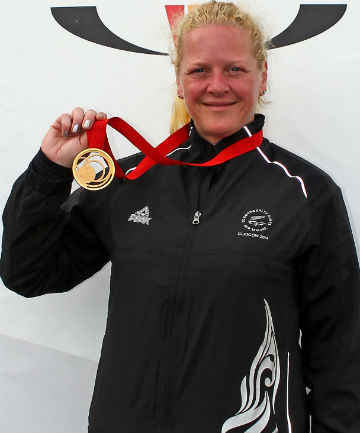 HOT SHOT: Sally Johnston kept her cool to win the women's 50m prone rifle gold medal in Carnoustie today.