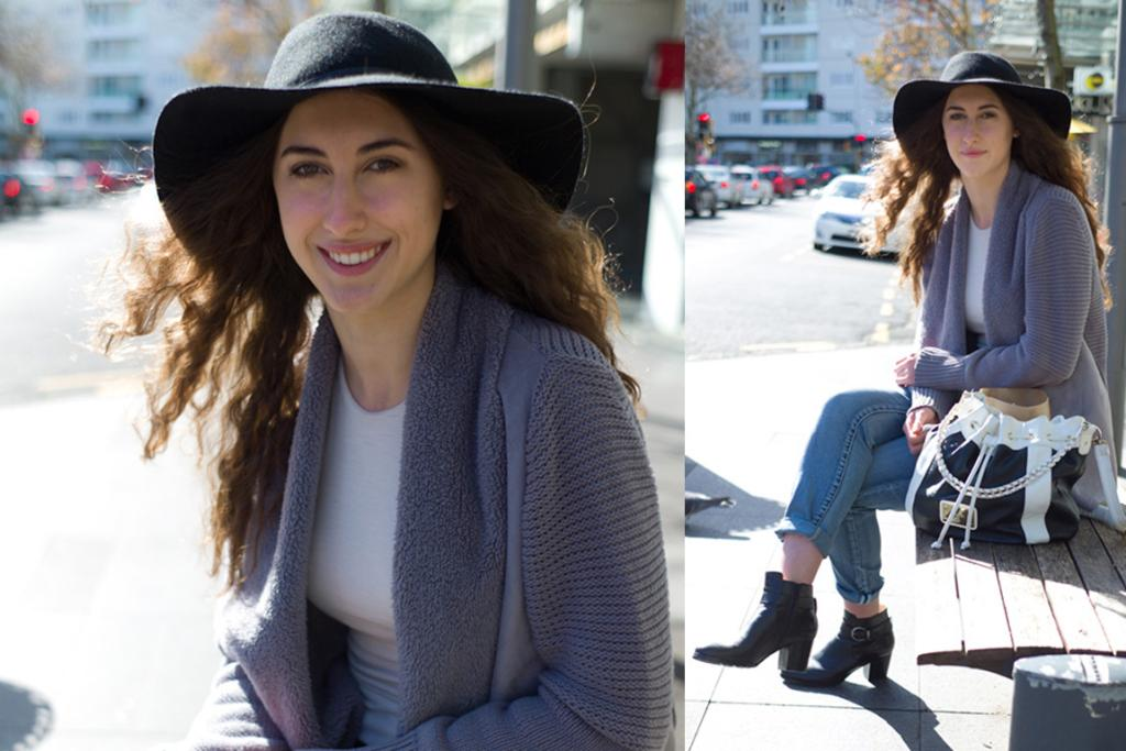 Gabby spotted on Nuffield Street in Newmarket in boyfriend jeans, black ankle boots and a gorgeous wide-brim hat.