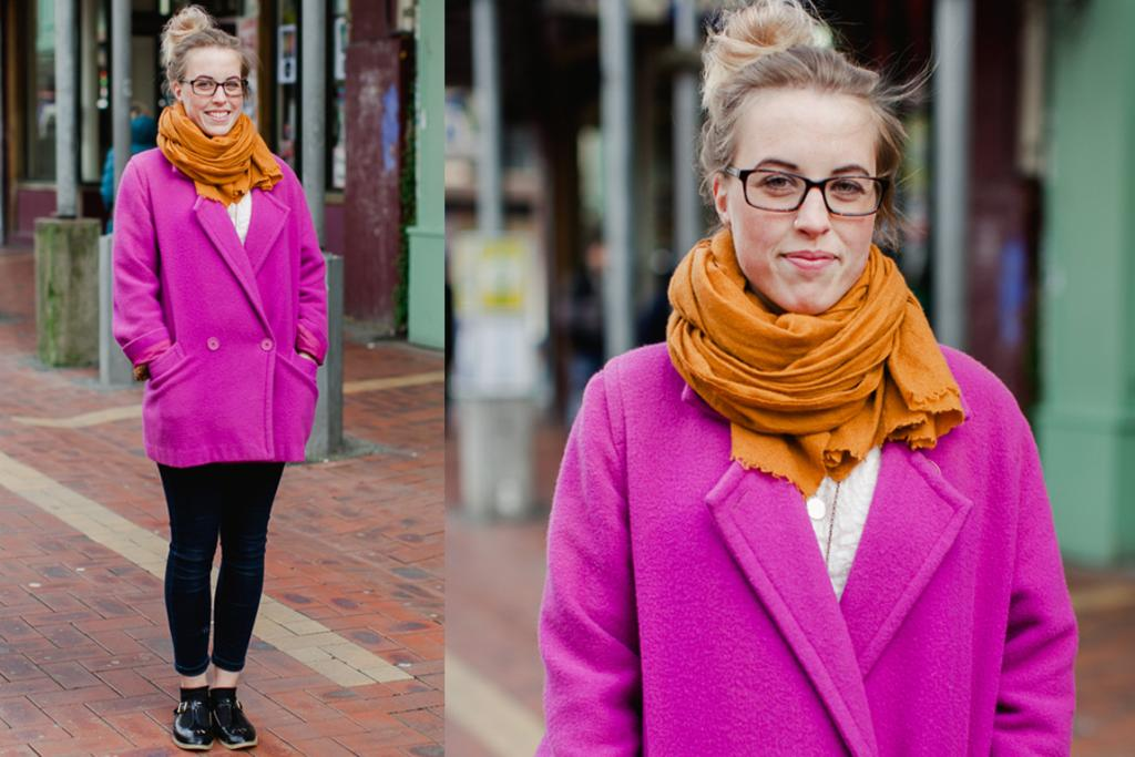Alana, spotted on Cuba St in Wellington, wears an eye-catching fuschia coat from Savemart, Topshop jeans and shoes and an opshop scarf.