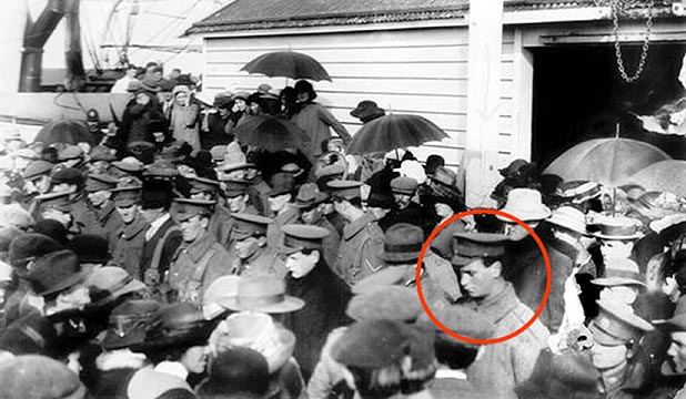 FINAL FAREWELL: The farewell muster in 1914 at the old Motueka wharf for volunteer troops including Private William Ham, circled.