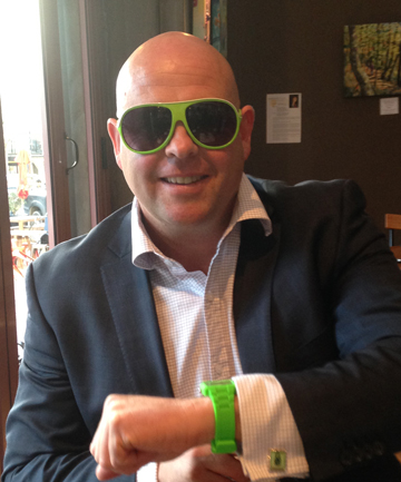 GIGATOWNTIM GREEN: Mayor Damon Odey shows #gigatowntim spirit with his green purchases at a local government conference.