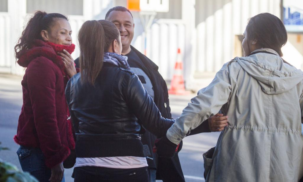 Family and supporters of Bronson Kelekolio outside of the Christchurch High Court following his sentencing.