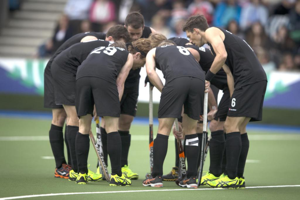 The Black Sticks huddle up during their 6-1 victory over Malaysia.
