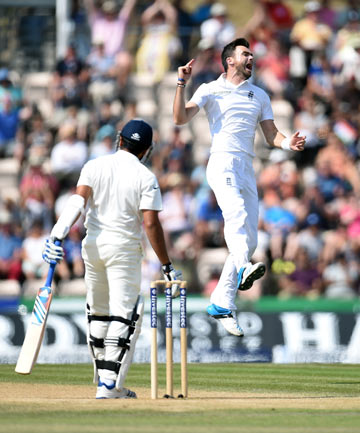 VICTORY LEAP: James Anderson leaps in the air after dismissing Rohit Sharma on day five of the third test in Southampton. England won by 266 runs to tie the five-test series 1-1.