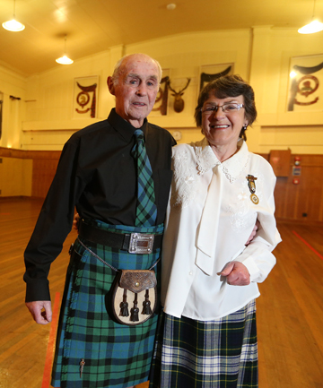 CELEBRATION: St Andrews Scottish Society patron Mac MacKay, left, and chief Barbara Swain ahead of the Centennial Ball this weekend, at the Scottish Hall in Invercargill.