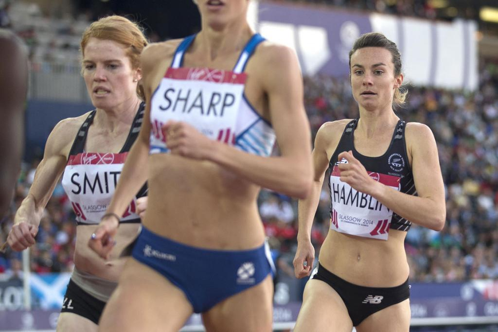 Kiwi runners Angie Smit, left, and Nikki Hamblin compete in the women's 800m final.