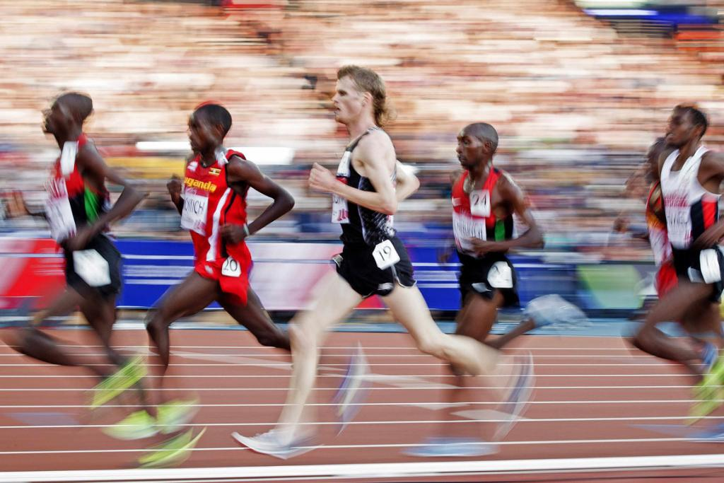 Jake Robertson competes in the final of the men's 1000m at the Commonwealth Games in Glasgow.