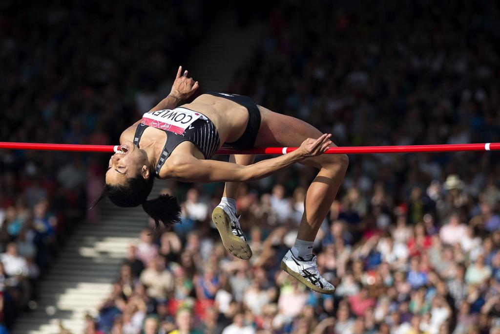 Sarah Cowley clears the bar during the women's high jump final at Hampden Park.