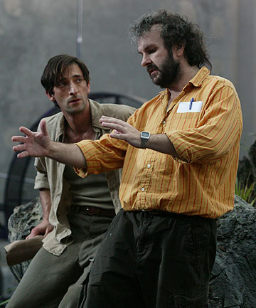 Sir Peter Jackson on the set of his King Kong remake with Adrian Brody in 2004.