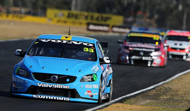 ROBBED: Kiwi driver Scott McLaughlin leads race two at the V8 Supercars Ipswich 400. He was later taken out and missed out on victory.