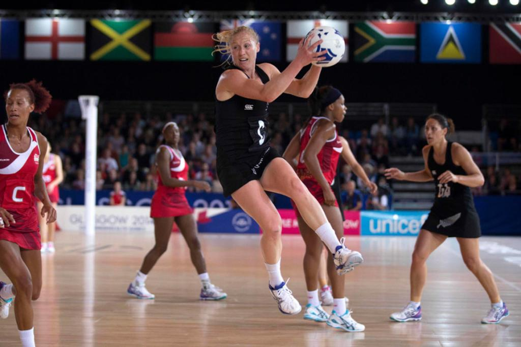 Silver Ferns centre Laura Langman leaps high for a pass against England.