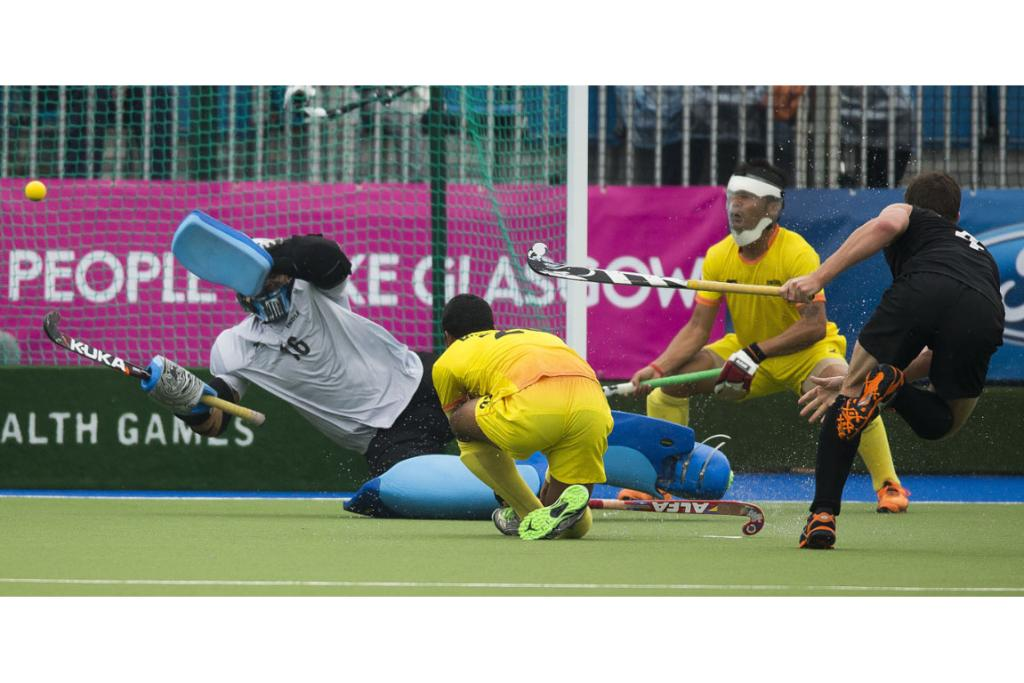 Nick Haig scores from a penalty corner to give New Zealand a 2-0 lead against India.