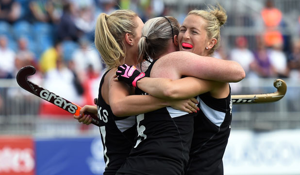 SOMETHING TO SMILE ABOUT: Black Sticks players celebrate a goal.