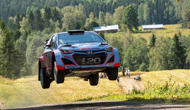 Haydon Paddon gets airborne during stage 10 on the Rally of Finland.
