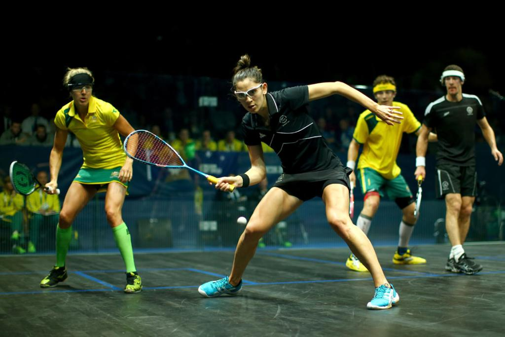 Joelle King looks to play a forehand drop-shot during the mixed doubles bronze medal match.