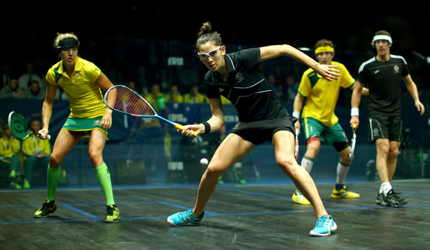 DROPPING ONE: Joelle King looks to play a forehand drop-shot during the mixed doubles bronze medal match.