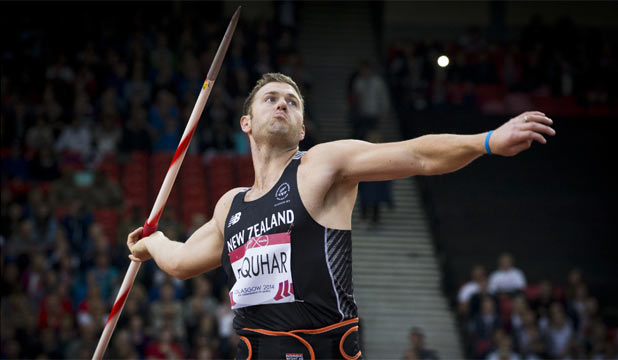 TAKING AIM: Stuart Farquhar in the final of the men's javelin. ''Oh yeah, I'm not going to stop yet,'' he said of his future in the sport.