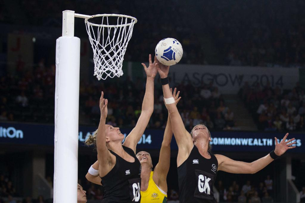 Silver Ferns defenders Casey Kopua (left) and Leana de Bruin attempt to grab a rebound.