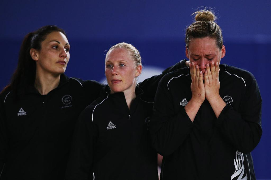 Cathrin Latu can't hold back her emotions on the medal dais, beside Joline Henry (left) and Laura Langman.