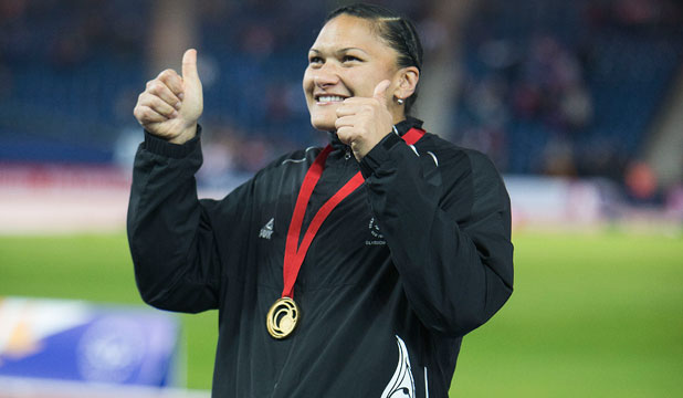 GOLDEN GIRL: Valerie Adams celebrates winning gold in the women's shot put in Glasgow.