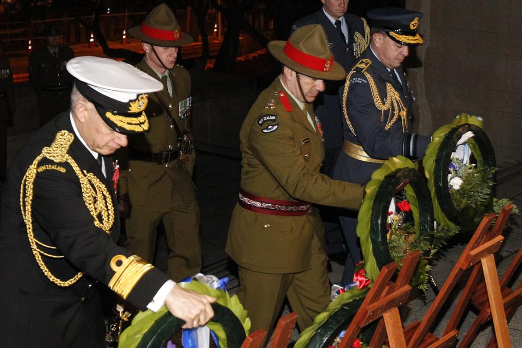 Chief of Navy Rear Admiral Jack Steer, Acting Chief of Army Brigadier Peter Kelly, Chief of Air Force Air Vice-Marshall Mike Yardley lay wreaths to mark the beginning of the First World War, National War Memorial, Wellington.