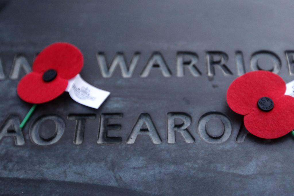 Poppies mark the tomb of the unknown warrior at the National War Memorial, Wellington.