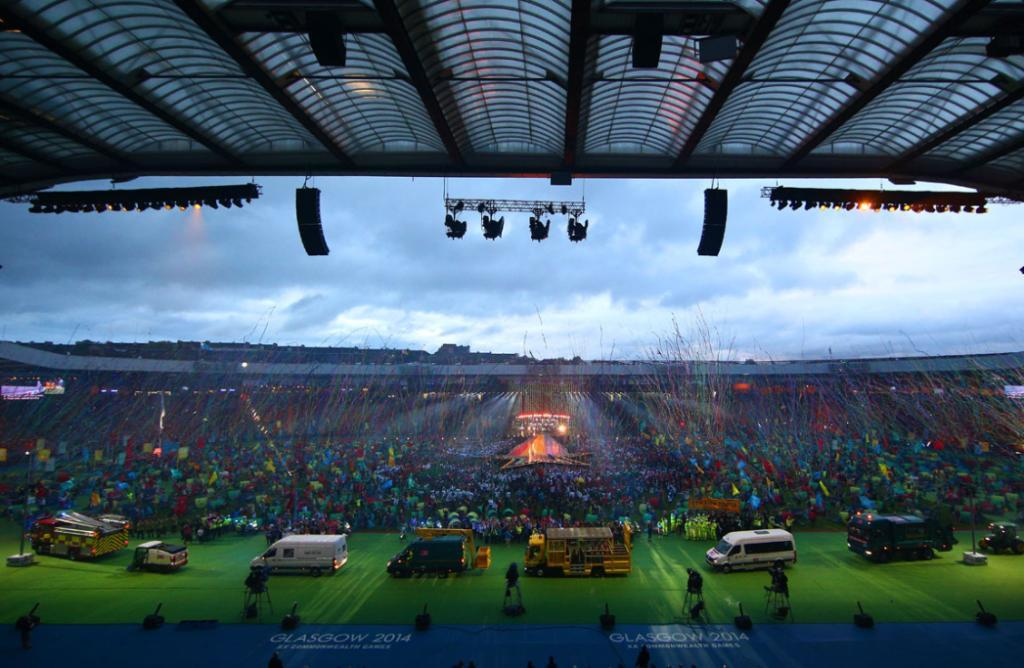 A heaving crowd gathered at Hampden Park for the closing ceremony.