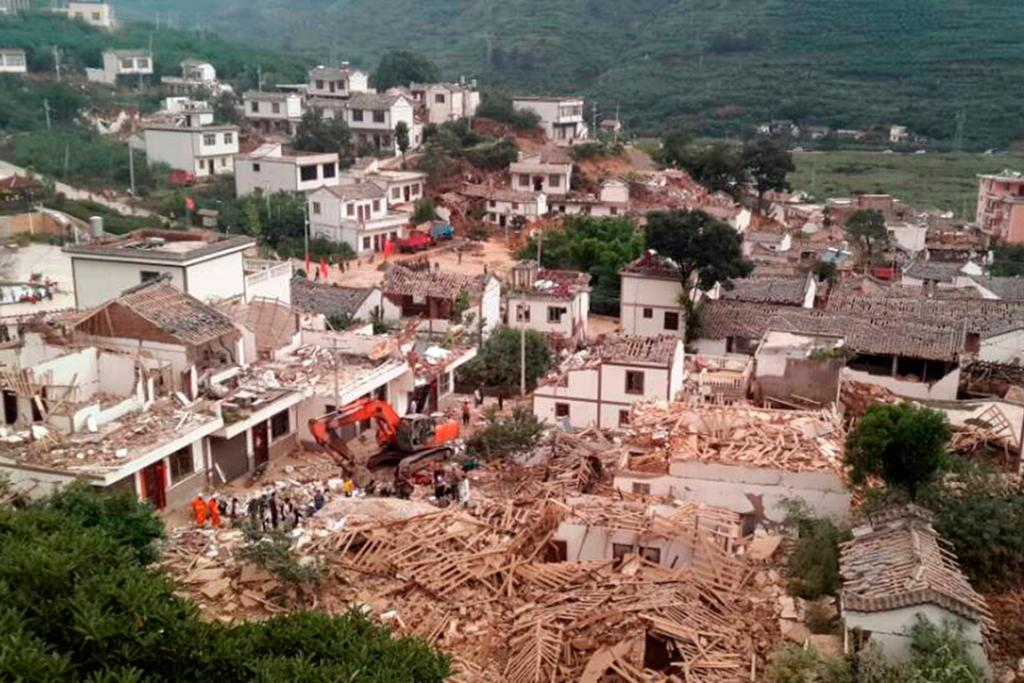 The quake collapsed many houses in Ludian county, Yunnan province.