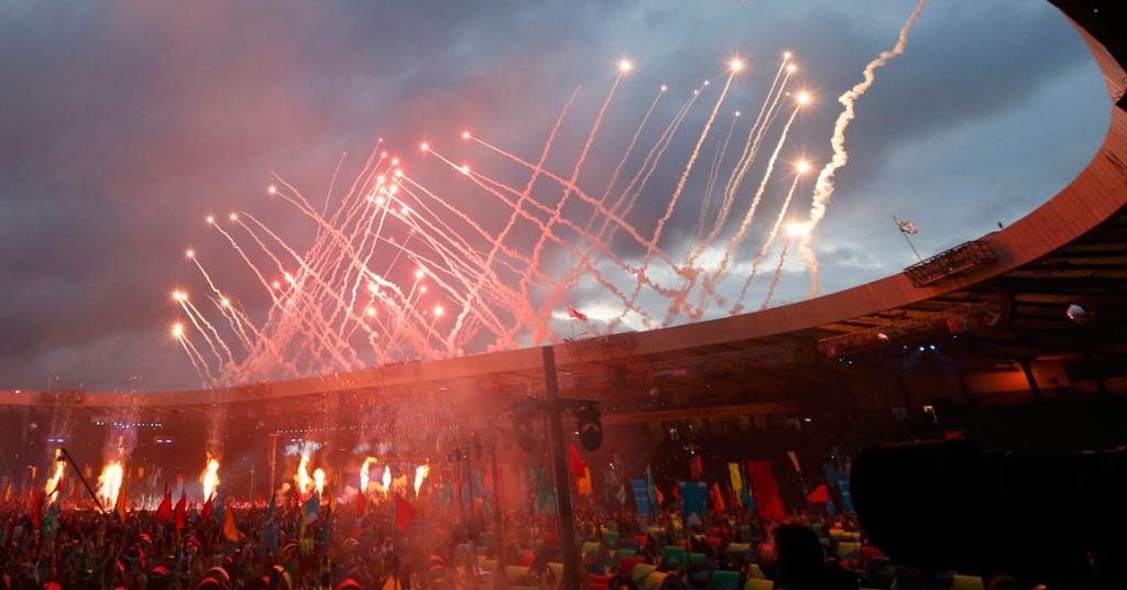 Gret skies in Glasgow are lit up by fireworks at the Commonwealth Games closing ceremony.