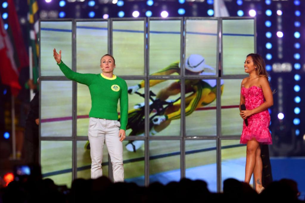 For a moment it looked like the Wiggles were getting in on the act at the closing ceremony; instead it was Australia team captain Sally Pearson.