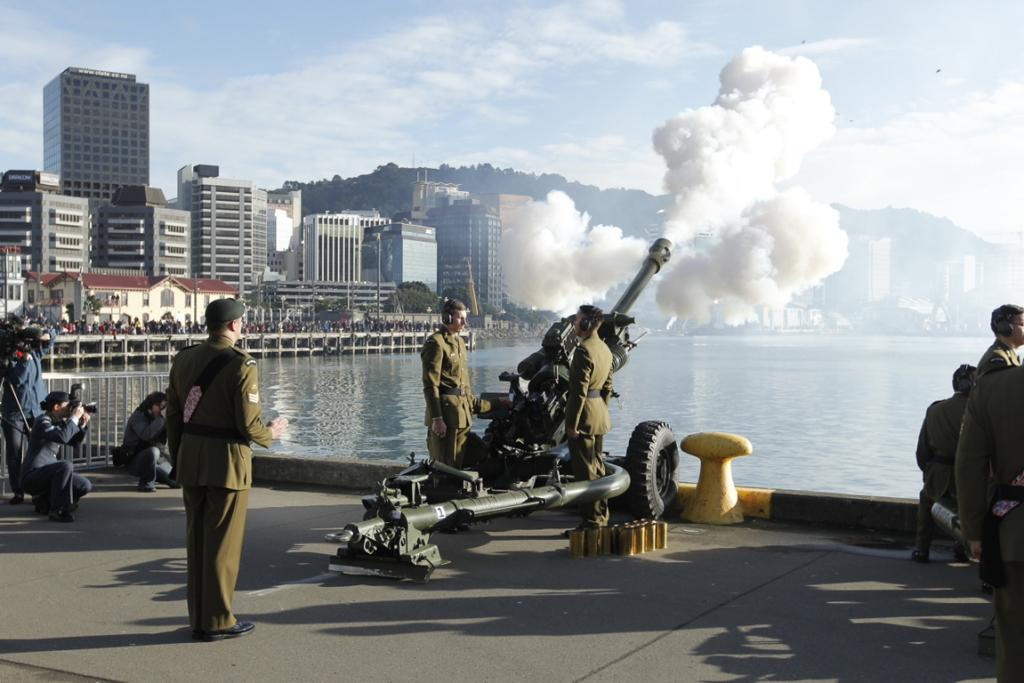 100-gun salute, Wellington waterfront, to mark 100 years since the beginning of WWI.