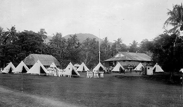 ISLAND LIFE: Part of New Zealand Expeditionary Force camp at Malifa, Western Samoa, taken in 1914.