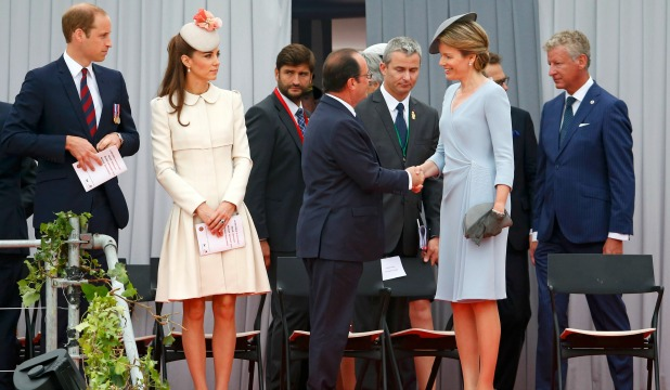 Britain's Prince William, his wife Catherine, Duchess of Cambridge, French President Francois Hollande and Queen Mathilde of Belgium
