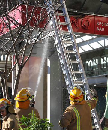 NEON ALIGHT: Firefighters quickly extinguished a fire in a Skycity casino sign in Queenstown.