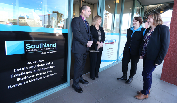 GETTING CLOSER: Southland Chamber of Commerce's Neil McAra, SIT chief executive Penny Simmonds, Jo O'Connor of Otago Southland Employers' Association and chamber chief executive Sarah Hannan at the new offices in Tay St.