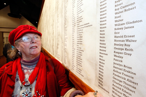 REMEMBERED: MaryAnn Mann of Richmond finds the name of her grandfather Stanley Webby who served in World War I, amongst a wall of 2429 names at the World War I exhibition at The Nelson Provincial Museum.
