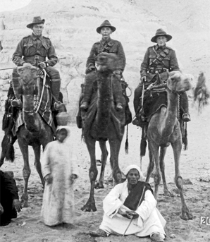 BREAK FROM TRAINING: Percy Neal, centre, with colleagues in front of the Sphinx,  Egypt, in February 1915.