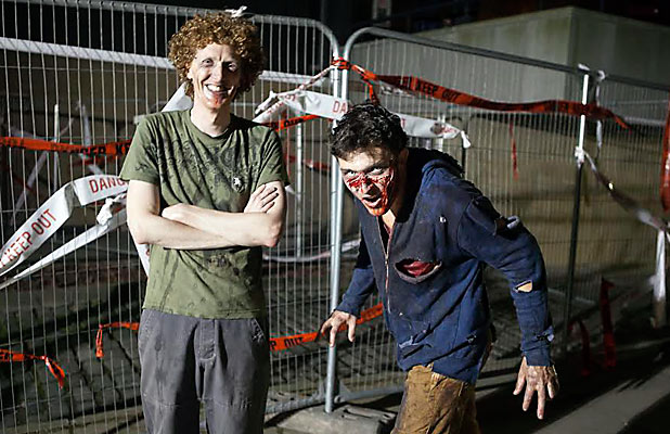 ZOMBIE LIFE: New Zealand performer John Burrows and Press reporter Charlie Gates after playing the undead in The Generation Of Z at the Edinburgh Festival Fringe.