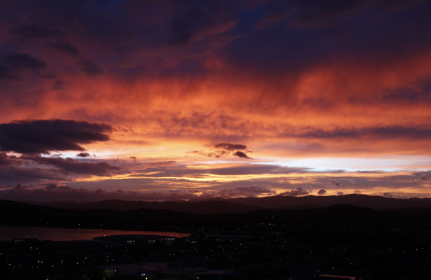 red skies Wellington
